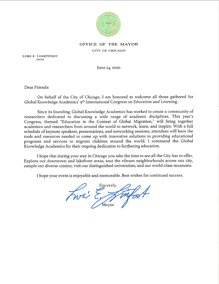 Letter from Mayor Lori Lightfoot